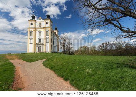 Moravsky Krumlov Chapel of St. Florian. spring landscape. Southern Moravia Czech Republic