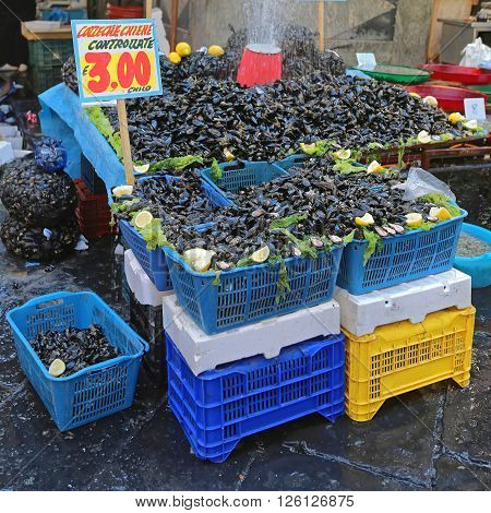 Fresh Mussel Shellfish Seafood at Street Market in Naples Italy