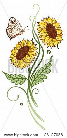 Summer time flowers, sunflowers with butterfly, floral vector decoration.