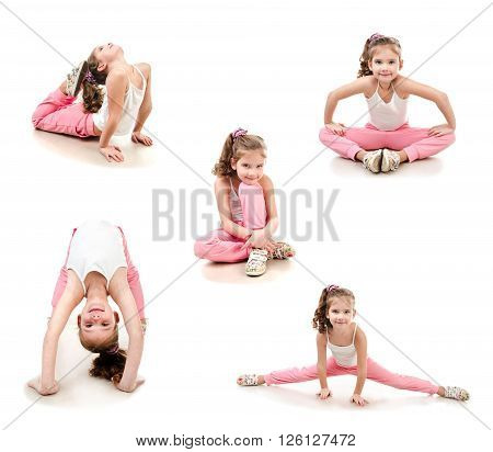 Collection of photos cute little girl doing gymnastic exercise isolated on a white