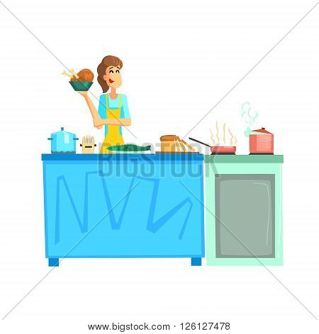 Cooking Contest Female Participant Fun Illustration In Simple Childish Style Flat Vector Design On White Background