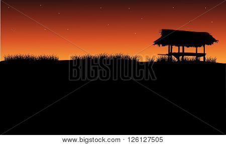 Silhouette of gazebo and grass at the afternoon