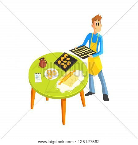 Guy Baking Cookies Fun Illustration In Simple Childish Style Flat Vector Design On White Background