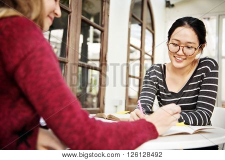 Analysing Casual Friends Girls Studying Campus Concept