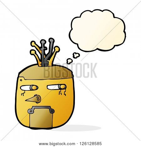 cartoon gold robot head with thought bubble