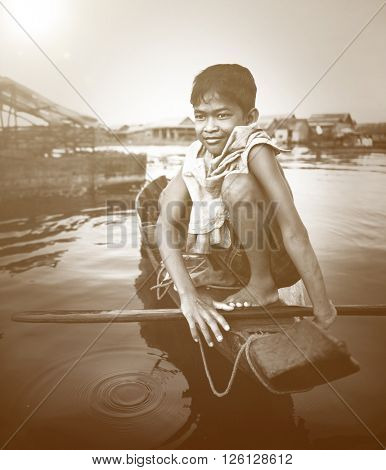 Poor Boy On a Boat Traditional Culture Concept