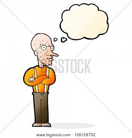 cartoon mean old man with thought bubble