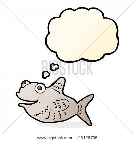 cartoon happy fish with thought bubble