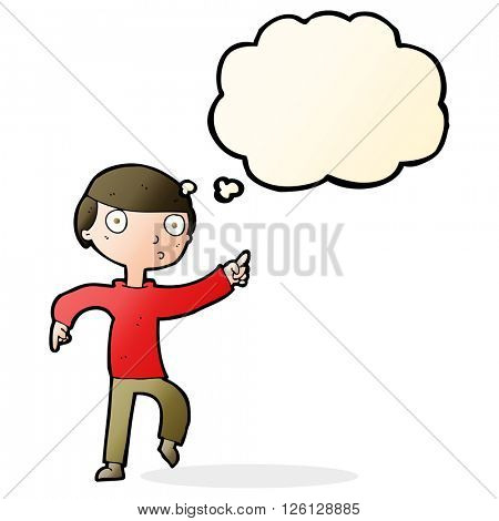 cartoon boy pointing with thought bubble