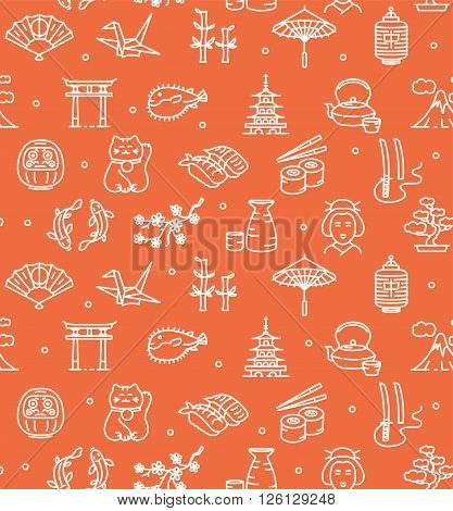 Japan Background Seamless with Icons Outline on Red. Vector illustration