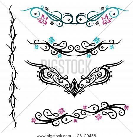 Vector set of feminine und filigree Tribal and Tattoos. Blue and pink.