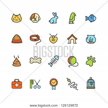 Pet Web Icon Colorful Set. Vector illustration