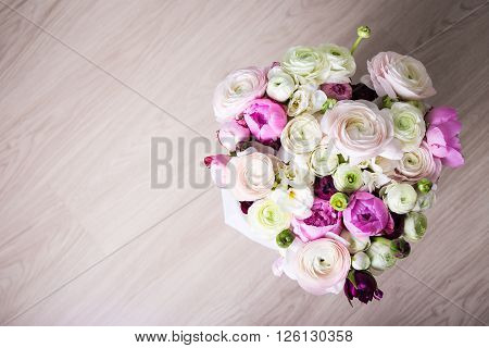 Top View Of Big Bouquet Of Summer Flowers