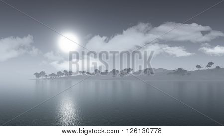 3D render of a misty island landscape
