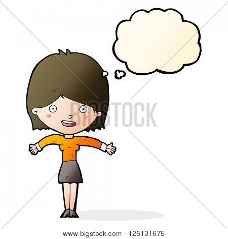 cartoon excited woman with thought bubble