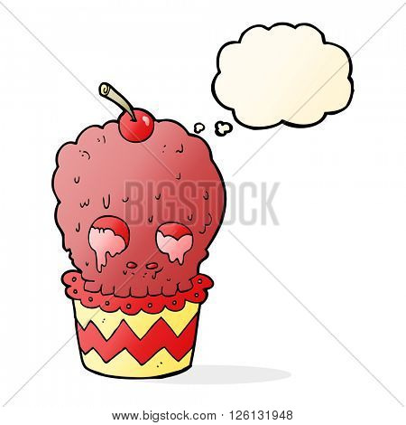 spooky skull cupcake cartoon with thought bubble