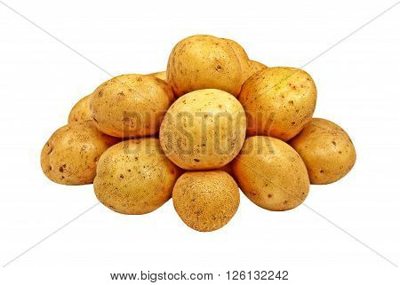 Heap of raw potatoes isolated on white background.
