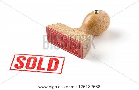 A Rubber Stamp On A White Background - Sold