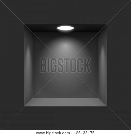 Black niche for presentations with illuminated light lamp