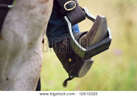 Western cowboy's boot, spur,