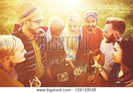 Diverse Yard Summer Friends Fun Bonding Concept