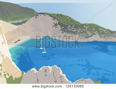 Navagio or Shipwreck beach at the Zakynthos island Greece vector illustration
