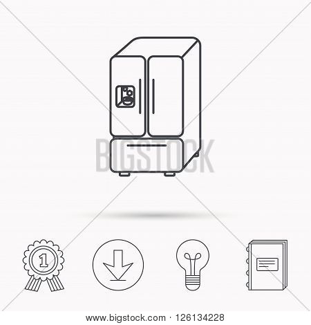 American fridge icon. Refrigerator with ice sign. Download arrow, lamp, learn book and award medal icons.