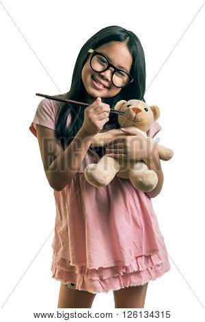 Little Girl,playing Together With A Doll, On White Background