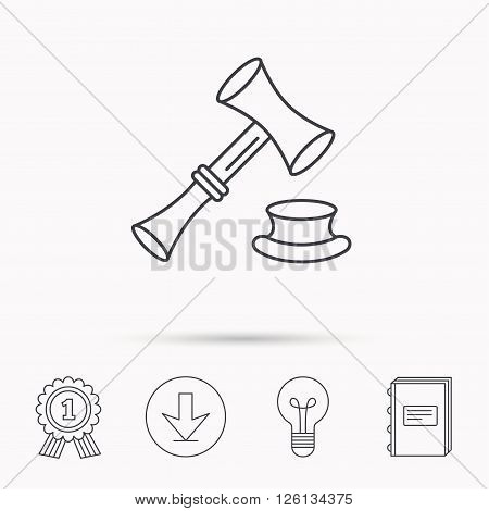 Auction hammer icon. Justice and law sign. Download arrow, lamp, learn book and award medal icons.