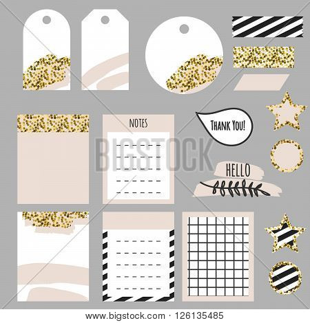 Journaling planner card notes and tags. Memo stickers for organizers and diary. Gold glitter and pastel pink accents decor.