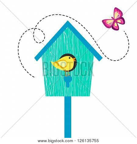 Blue cartoon bird house with birdie on perch and butterfly. Birdhouse isolated on white cute vector illustration.