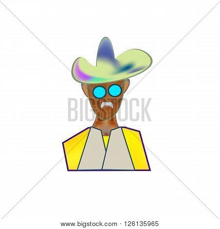 Icon color image cowboy hat. Figure cowboy face.