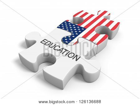 3D rendering puzzle concept of education in the United States