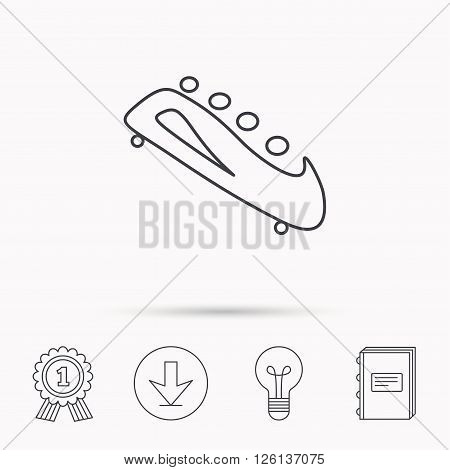 Bobsleigh icon. Four-seated bobsled sign. Professional winter sport symbol. Download arrow, lamp, learn book and award medal icons.