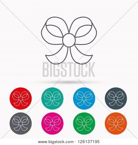Bow icon. Gift bow-knot sign. Linear icons in circles on white background.