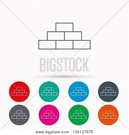 Brickwork icon. Brick construction sign. Linear icons in circles on white background.