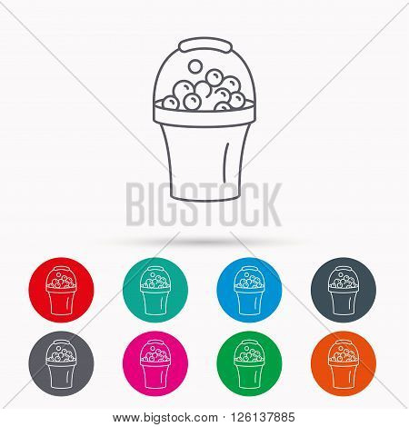 Bucket with foam icon. Soapy cleaning sign. Linear icons in circles on white background.