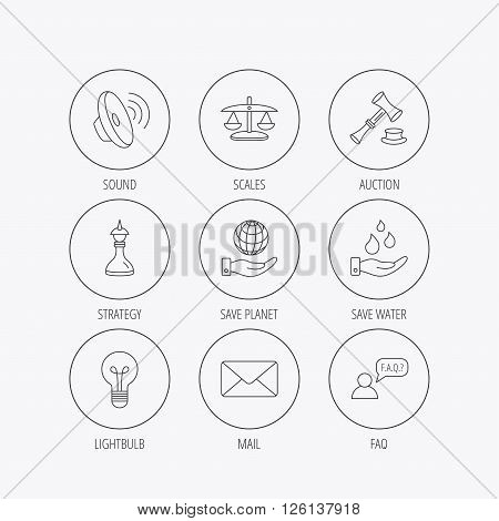 Strategy, auction and scales of justice icons. Save planet, water and lamp lightbulb linear signs. Faq and law hammer flat line icons. Linear colored in circle edge icons.
