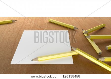 pencils and white blank paper on wooden table 3D Rendering
