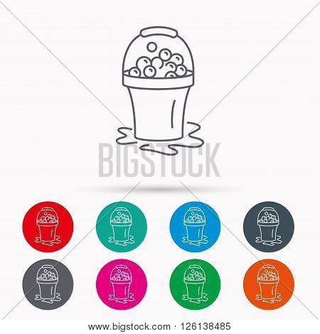 Soapy cleaning icon. Bucket with foam and bubbles sign. Linear icons in circles on white background.