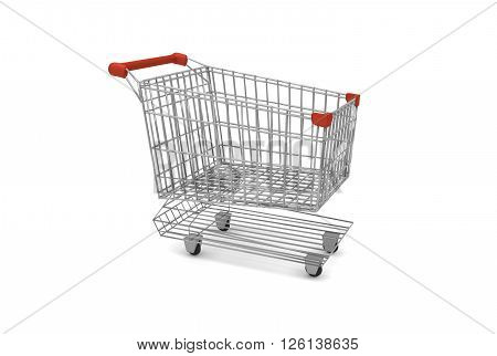 empty supermarket cart with red plastic handles 3D Rendering