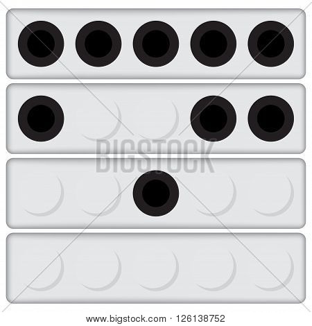 Set of four biathlon targets with different black and white points
