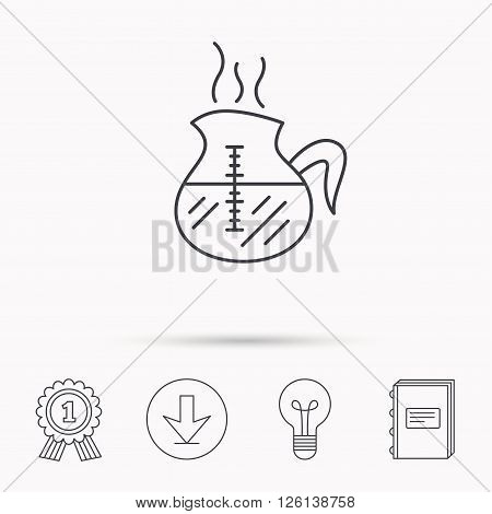 Coffee kettle icon. Hot drink pot sign. Download arrow, lamp, learn book and award medal icons.