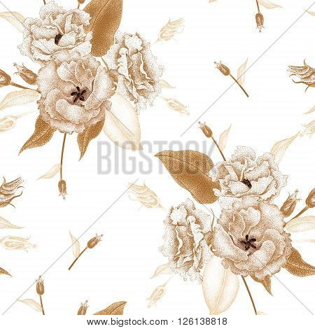 Flowers roses on a white background. Vector seamless pattern. Floral design in oriental style. Vintage. Black white and gold. Beautiful bouquets flowers roses gold foil printing.