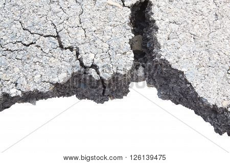 Part Of Asphalt Cracks On The Road Isolate On White Background.