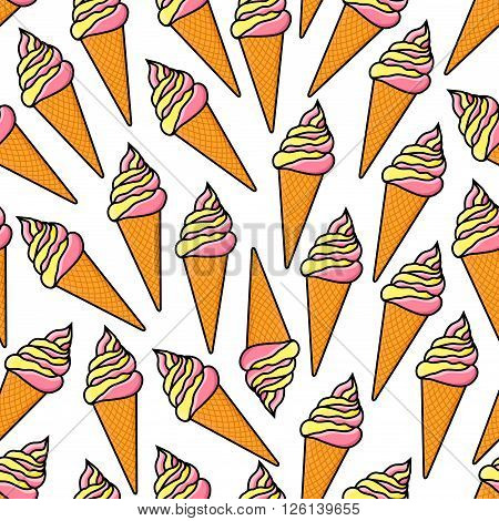 Cartoon seamless vanilla and strawberry ice cream pattern with twisted soft serve ice cream cones on white background. Retro stylized fast food dessert menu, summer treat theme design