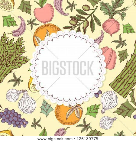 Seamless pattern with hand drawing vector illustrations of fruit and vegetables and frame in form of napkin