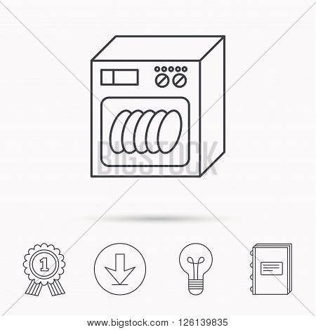 Dishwasher icon. Kitchen appliance sign. Download arrow, lamp, learn book and award medal icons.