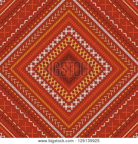 Seamless Red Ethnic Pattern.
