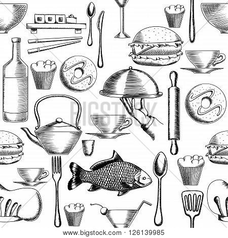 Restaurant seamless pattern with hand drawing vector illustrations of serving dish, sushi set and theme sketches